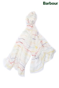 Barbour® White Squiggle Striped Scarf