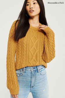 Abercrombie & Fitch Yellow Cable Sweater