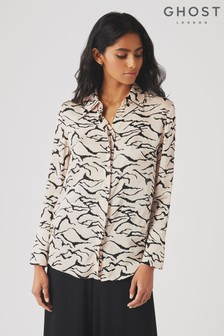 Ghost London Nude Camille Print Sation Blouse