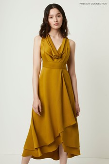 French Connection Yellow Alessia Satin Cowl Neck Dress