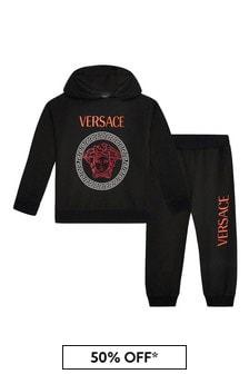 Versace Boys Black Cotton Tracksuit