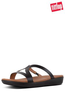 FitFlop™ Black Leather Strata Slide Sandal