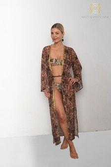 West Seventy Nine Fyre Kimono im Blumen-Leopardenmuster