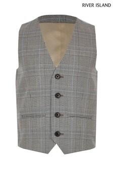 River Island Grey Pow Check Waistcoat