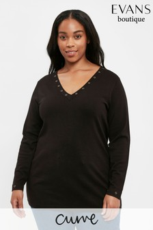 Evans Curve Blackk V-Neck Jumper