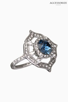 Accessorize Blue Stone Ornate Cocktail Ring