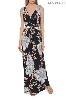 Gina Bacconi Black Raini Floral Jersey Maxi Dress