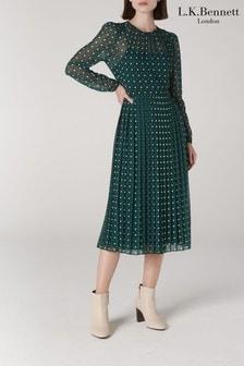 L.K.Bennett Green Avery Pleated Midi Dress