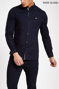 River Island Navy Long Sleeve Oxford Shirt