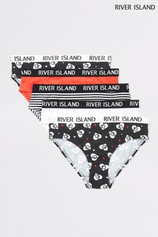 River Island Red Heart Mono Briefs Five Pack