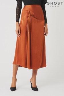 Ghost London Brown Adele Satin Skirt