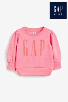 Gap Pink Long Sleeve Logo Crew Top