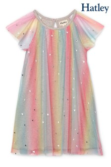 Hatley Pink Metallic Hearts Rainbow Tulle Dress