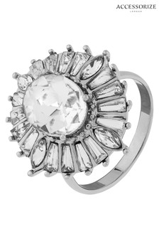 Accessorize Clear Maryilyn Crystal Deco Cocktail Ring