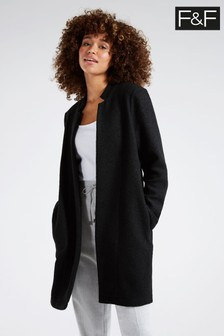 F&F Black Snit Coat