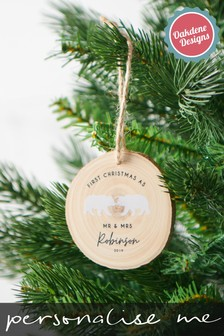 Personalised First Christmas As Mr & Mrs Hanging Decoration by Oakdene Designs