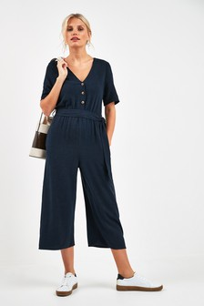 Linen Blend Button Jumpsuit