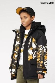 Timberland Black and Yellow Camoflage Hooded Parka Jacket
