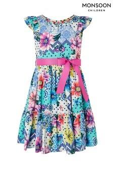 Monsoon Blue Floral Spot Printed Dress