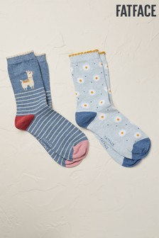 FatFace Blue Llama Socks Two Pack