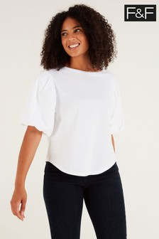 F&F Poplin Puff Ball Cream T-Shirt