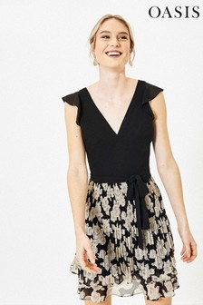 Oasis Black 2-In-1 Floral Dress