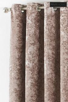 Riva Home Cream Verona Crushed Velvet Eyelet Curtains