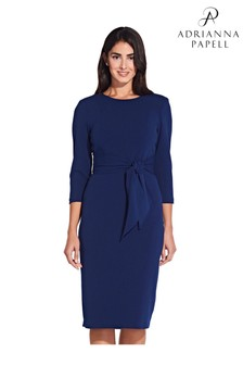Adrianna Papell Blue Knit Crepe Tie Waist Sheath Dress