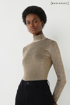 Warehouse Gold Metallic Funnel Neck Top