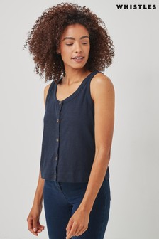 Whistles Navy Button Up Tank Top
