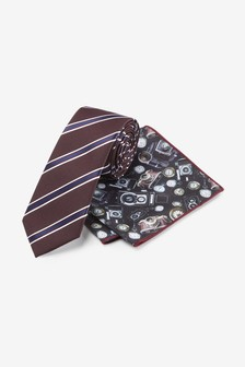 Stripe Tie With Camera Print Pocket Square