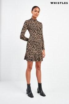 Whistles Animal Jersey Flippy Dress