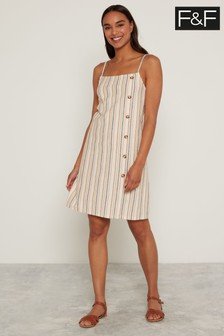 F&F Multi Square Neck Stripe Dress