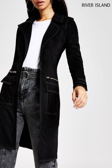 River Island Milly Suedette Utility Duster Jacket