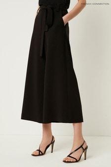 Črne skrajšane široke hlače French Connection Whisper Ruth
