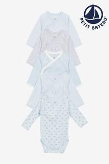 Petit Bateau Blue Long Sleeve Bodysuit Five Pack