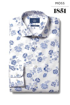 Moss 1851 Blue Tailored Fit Single Cuff Floral Shirt