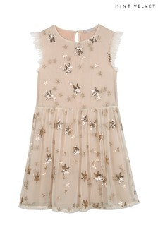 Mintie by Mint Velvet Gold Sequin Star Party Dress