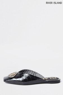 River Island Black Toe Decal Flat Shoes