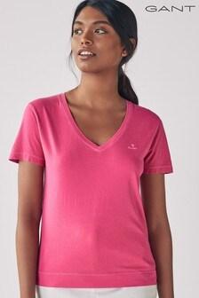 GANT Cabaret Pink  Sunfaded V-Neck T-Shirt