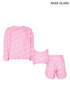 River Island Pink 3 Piece Towelling Lounge Set
