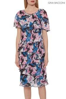 Gina Bacconi Pink Fiorela Chiffon Dress