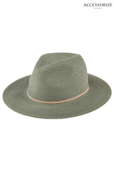 Accessorize Green Packable Panama Hat