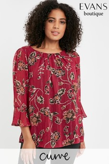 Evans Curve Red Floral Print Frill Sleeve Top