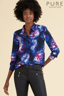 Pure Collection Blue Washed Silk Relaxed Blouse