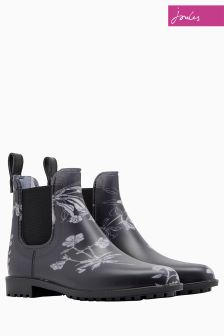 Joules Black Floral Chelsea Boot