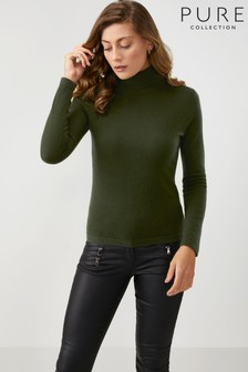 Pure Collection Green Cashmere Roll Neck Sweater