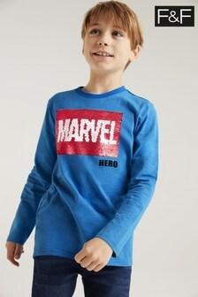 F&F Blue Marvel® Flippy Sequin T-Shirt