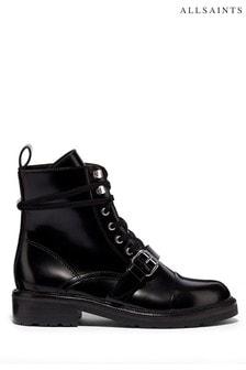 AllSaints Black Donita Ankle Calf Boots