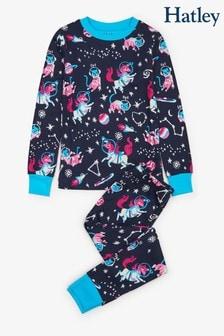Modrá pyžamová súprava s vesmírnym motívom Hatley